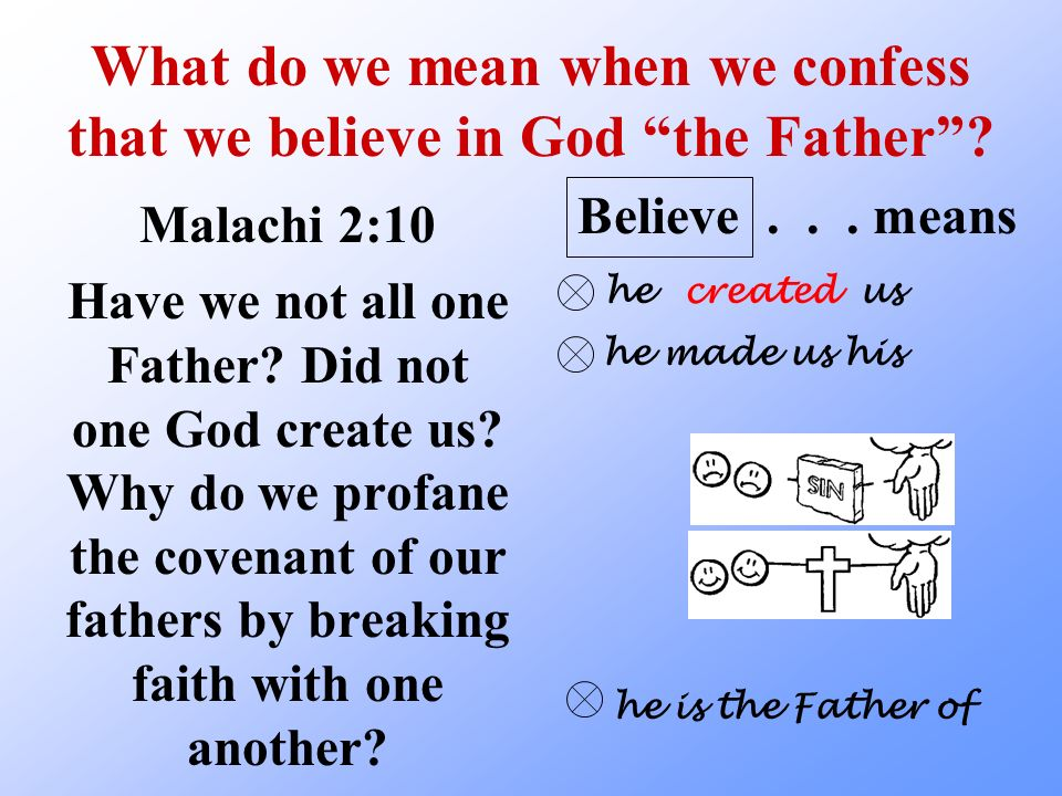 What do we mean when we confess that we believe in God the Father
