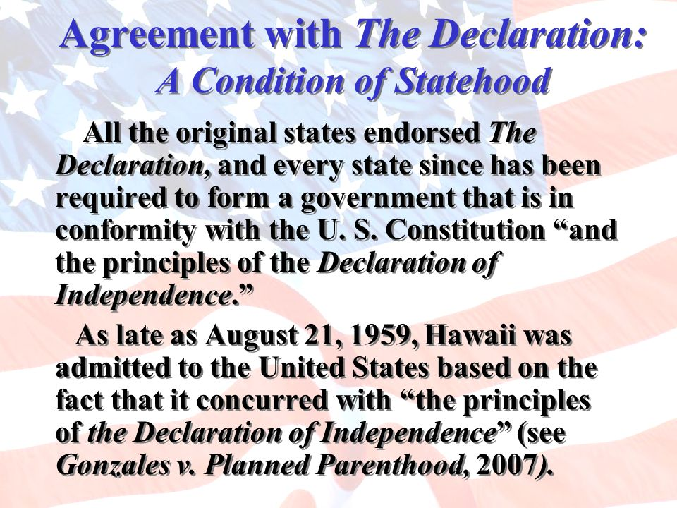 Agreement with The Declaration: A Condition of Statehood
