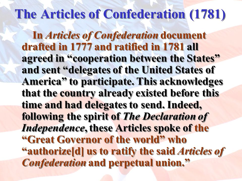 The Articles of Confederation (1781)