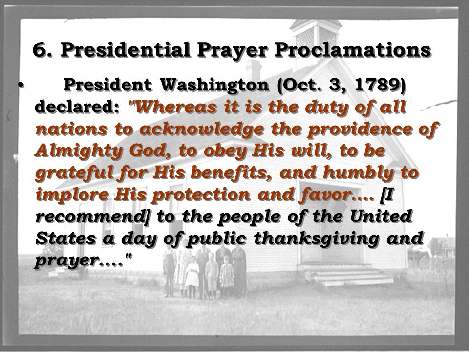 6. Presidential Prayer Proclamations
