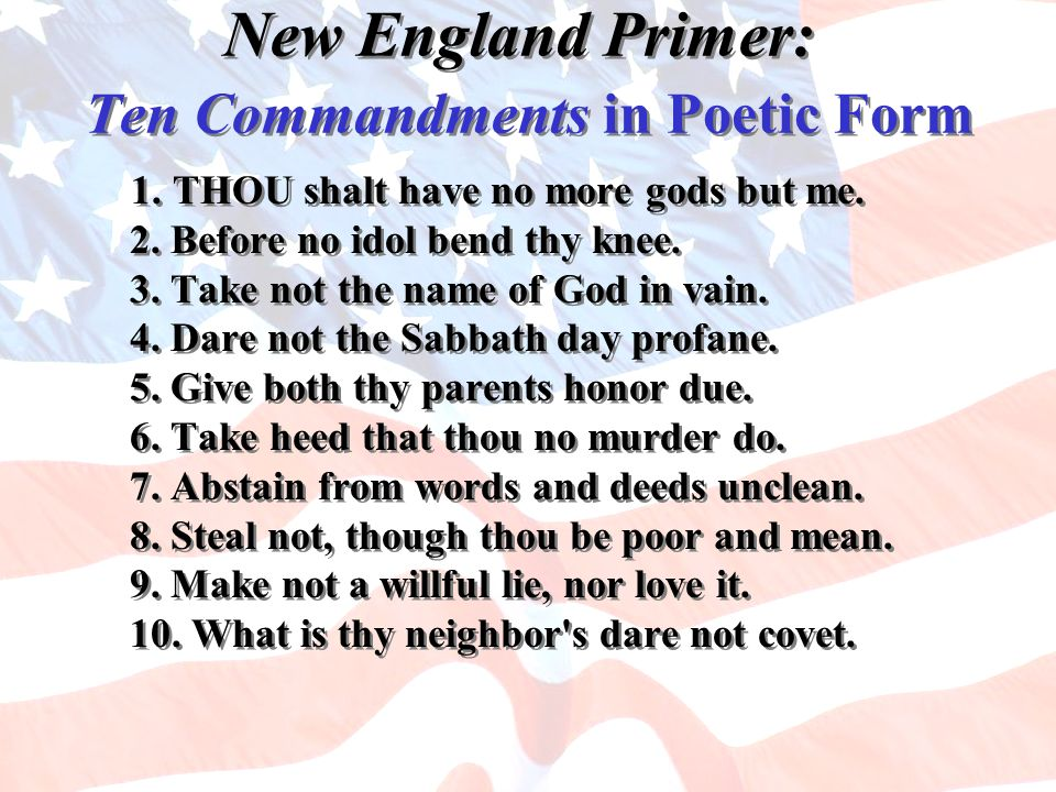 New England Primer: Ten Commandments in Poetic Form