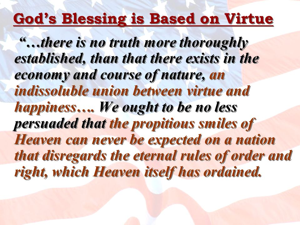 God's Blessing is Based on Virtue