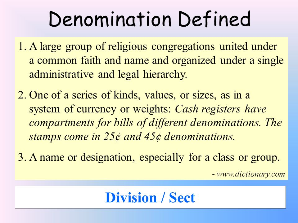 Denomination Defined Division / Sect