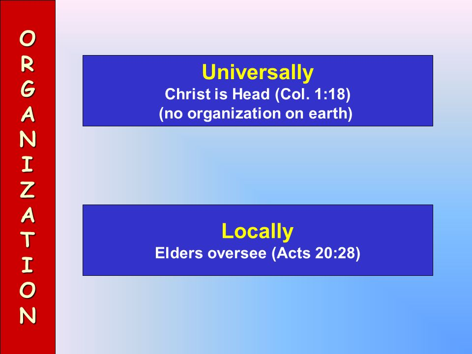 (no organization on earth) Elders oversee (Acts 20:28)
