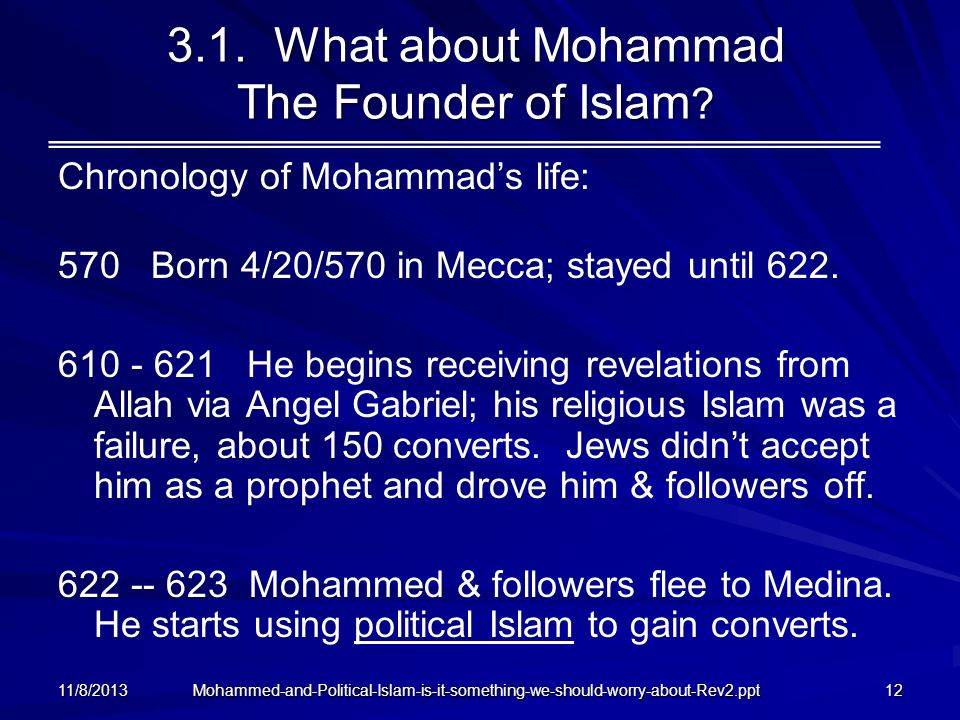 3.1. What about Mohammad The Founder of Islam