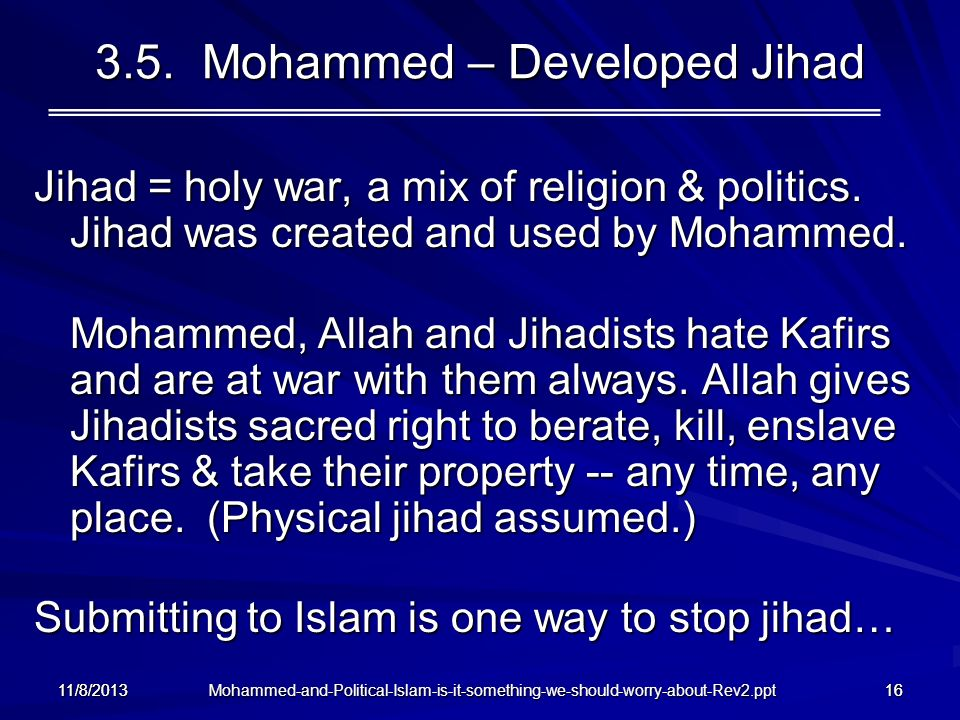 3.5. Mohammed – Developed Jihad