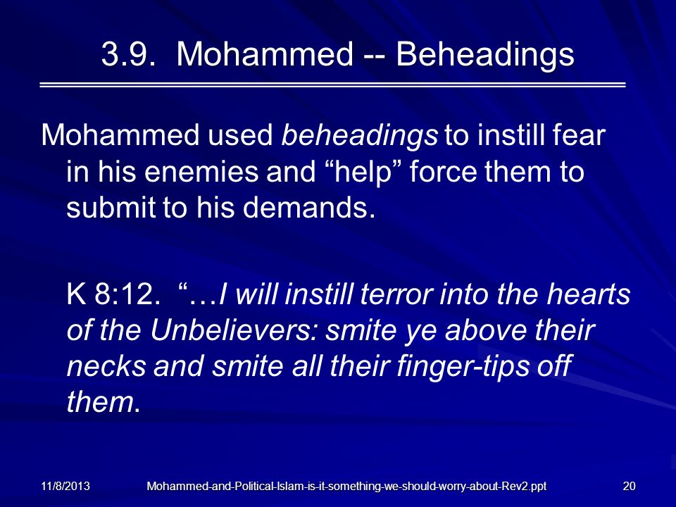 3.9. Mohammed -- Beheadings