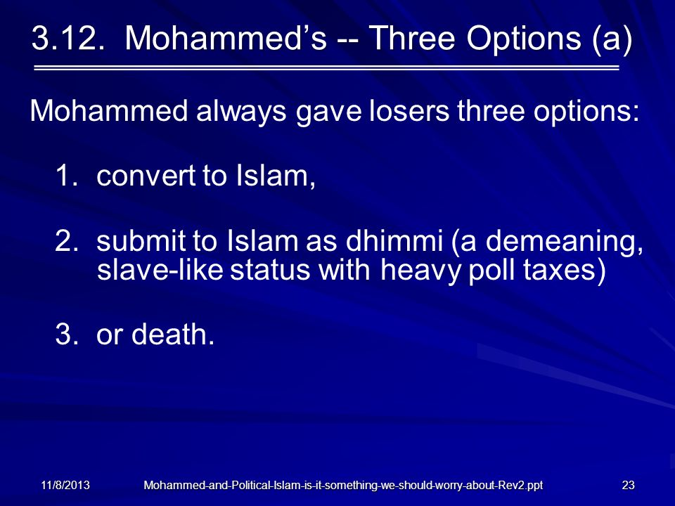 3.12. Mohammed's -- Three Options (a)