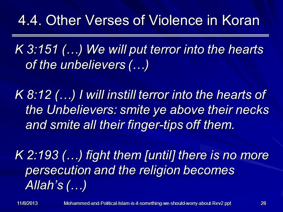 4.4. Other Verses of Violence in Koran