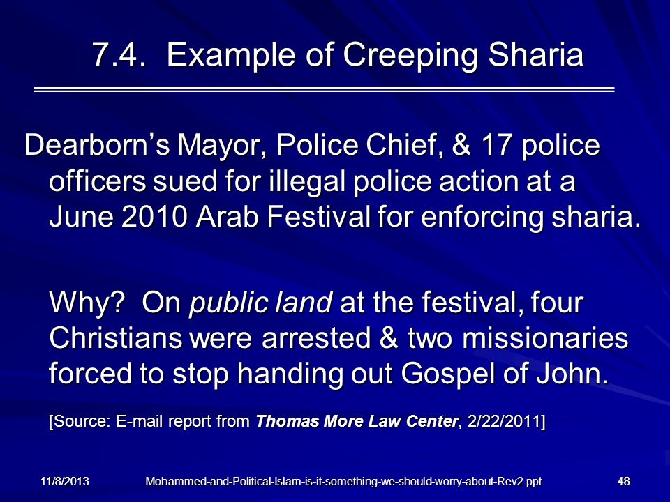 7.4. Example of Creeping Sharia