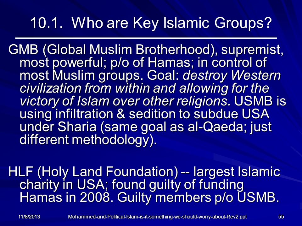 10.1. Who are Key Islamic Groups
