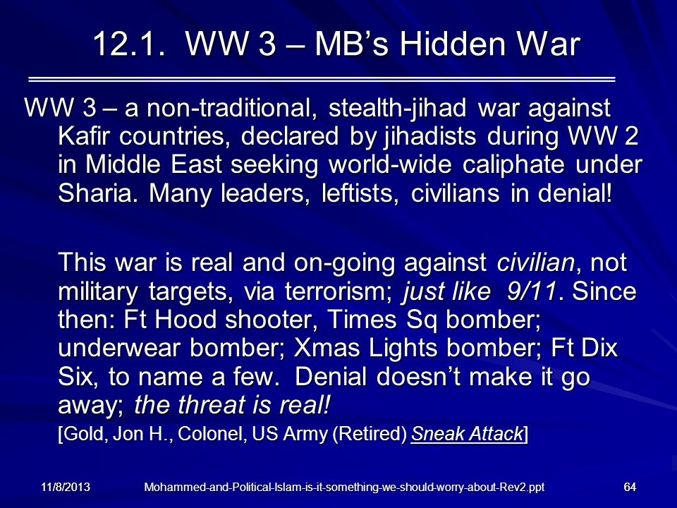 12.1. WW 3 – MB's Hidden War