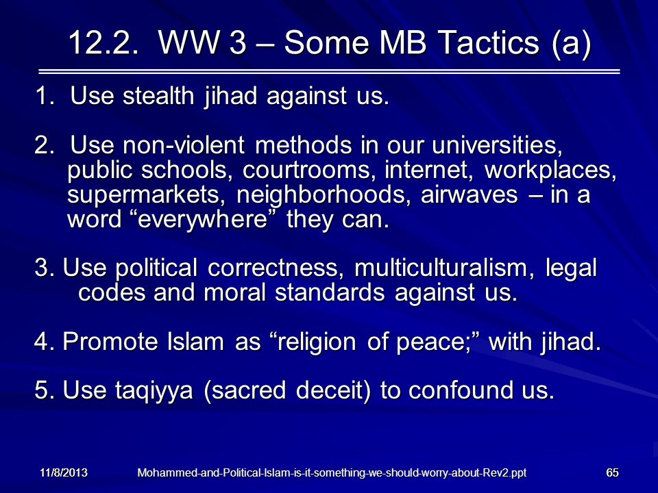 12.2. WW 3 – Some MB Tactics (a) 1. Use stealth jihad against us.