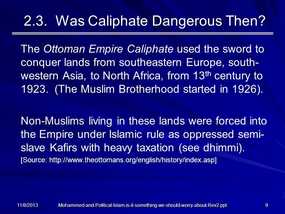 2.3. Was Caliphate Dangerous Then