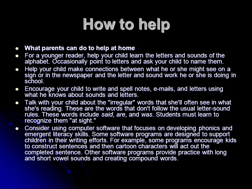 How to help What parents can do to help at home