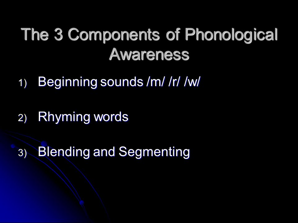 The 3 Components of Phonological Awareness