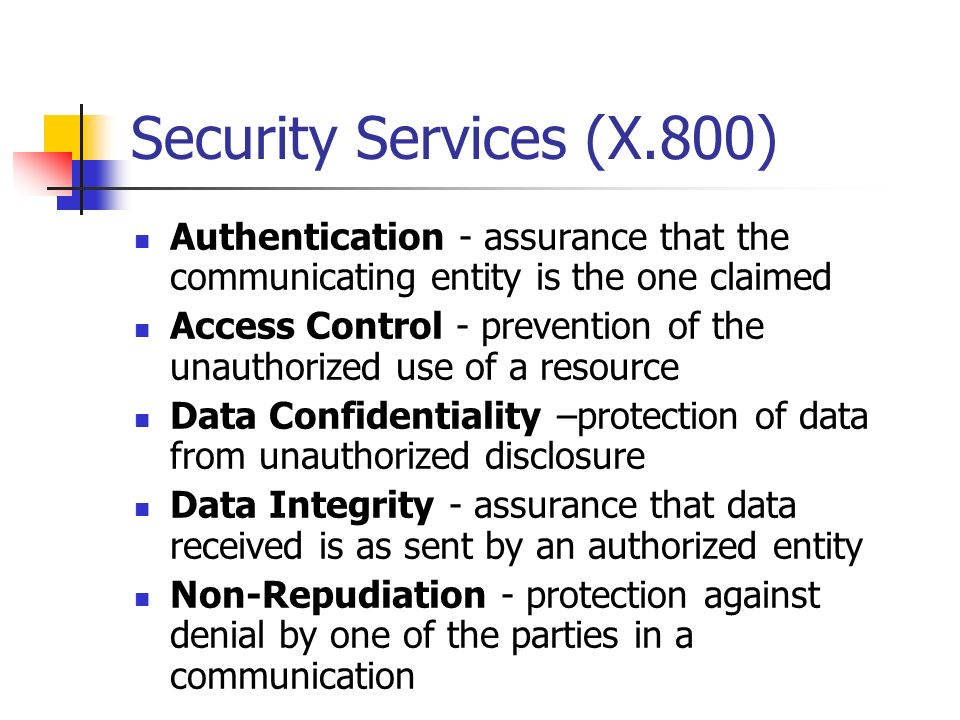 Security Services (X.800) Authentication - assurance that the communicating entity is the one claimed.