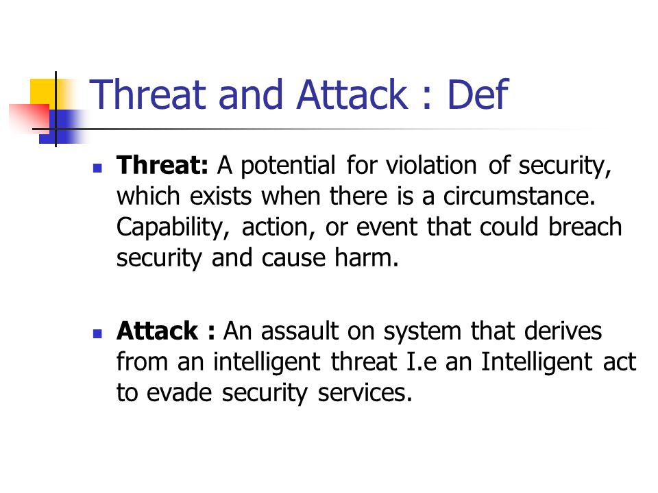 Threat and Attack : Def