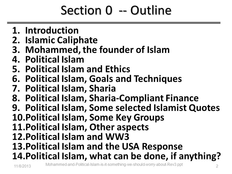 Section 0 -- Outline Introduction Islamic Caliphate