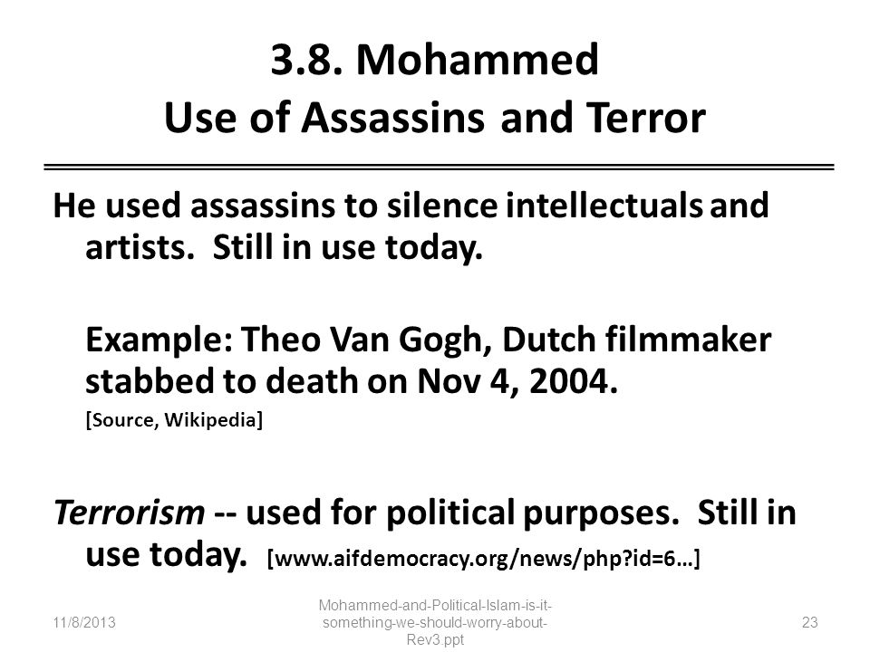3.8. Mohammed Use of Assassins and Terror