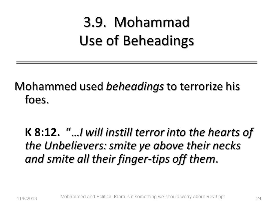 3.9. Mohammad Use of Beheadings