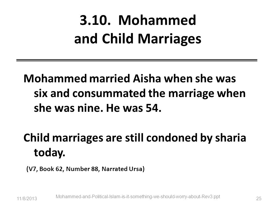 3.10. Mohammed and Child Marriages
