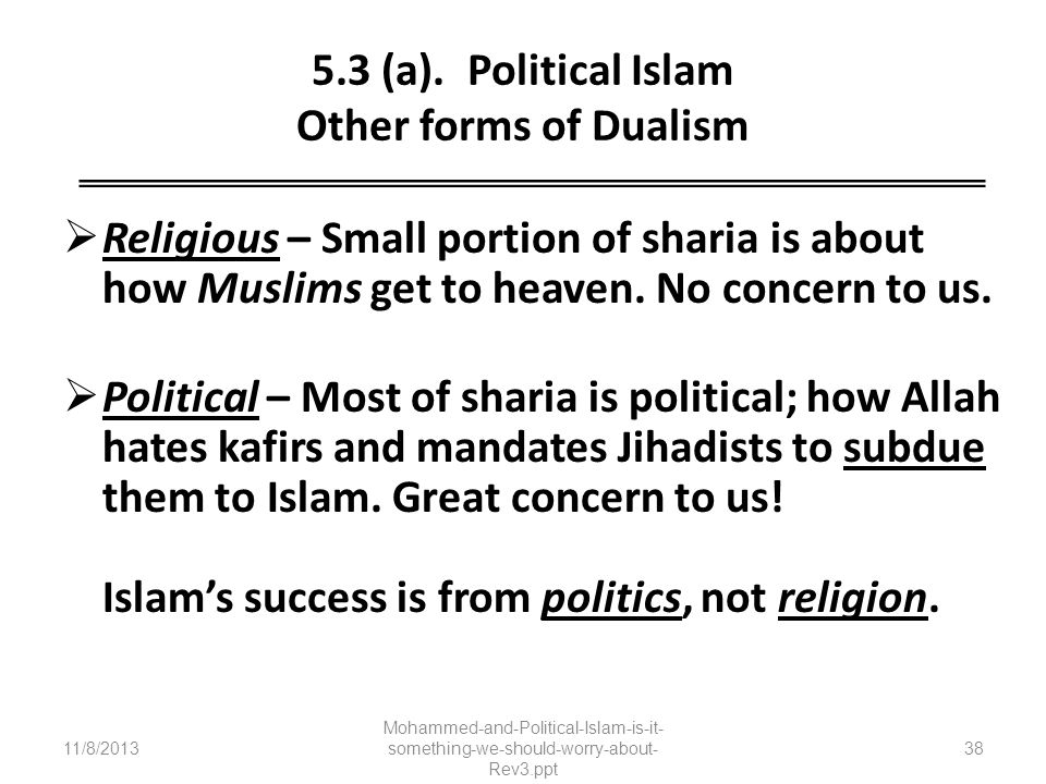 5.3 (a). Political Islam Other forms of Dualism