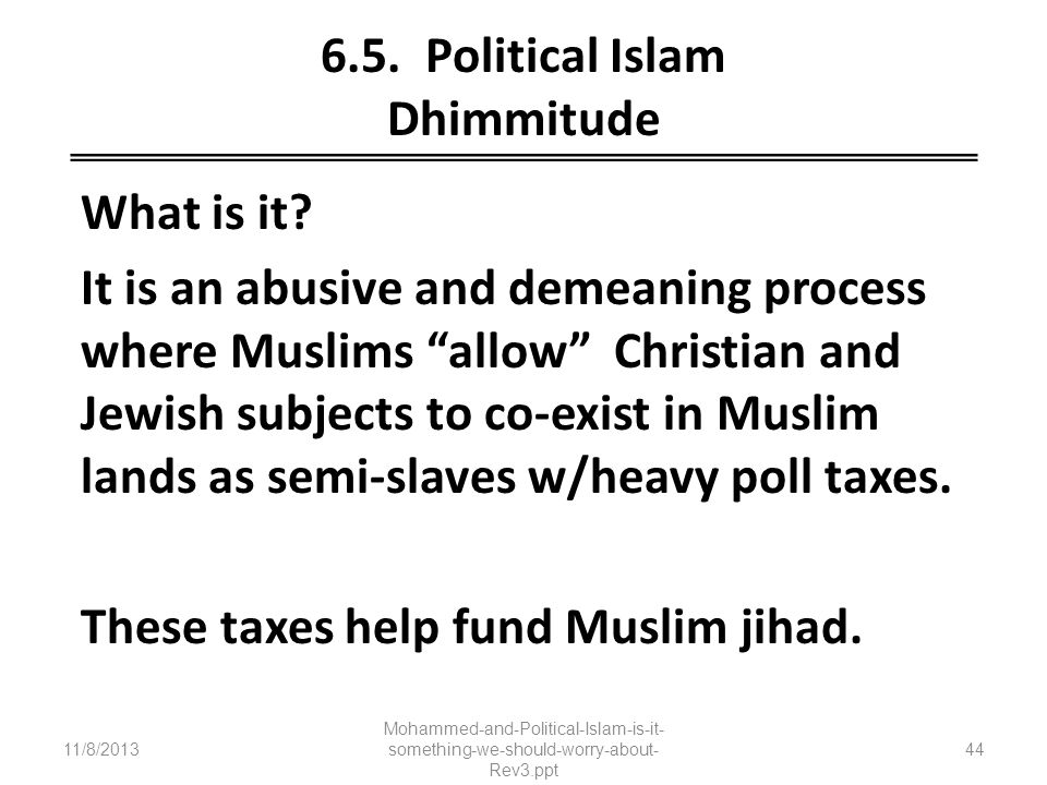 6.5. Political Islam Dhimmitude