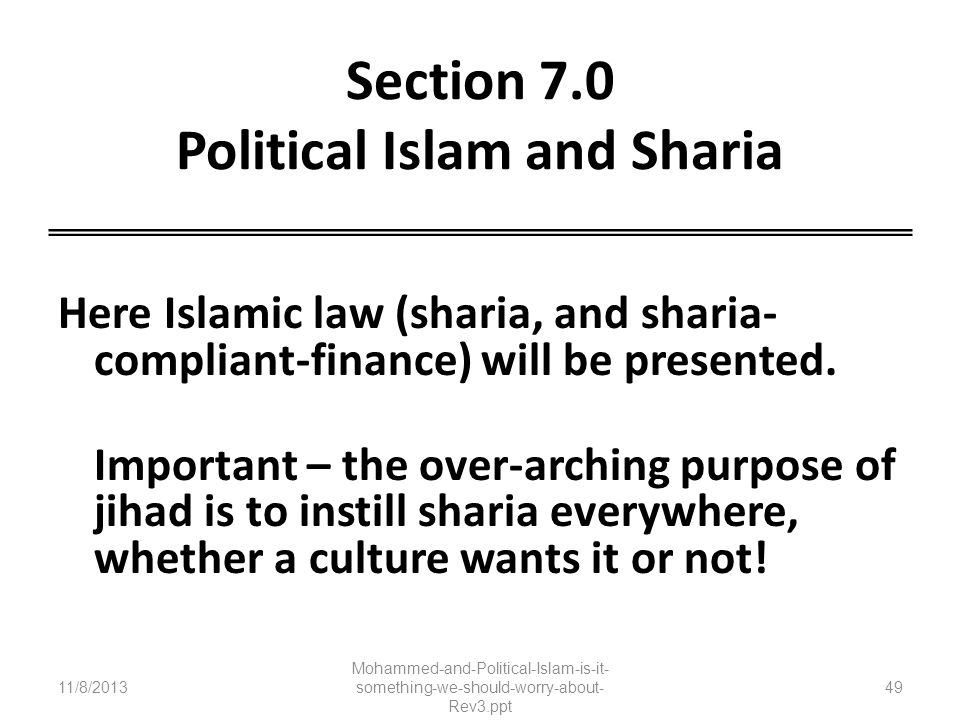 Section 7.0 Political Islam and Sharia