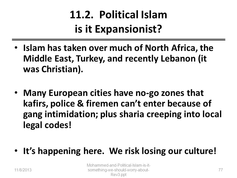 11.2. Political Islam is it Expansionist
