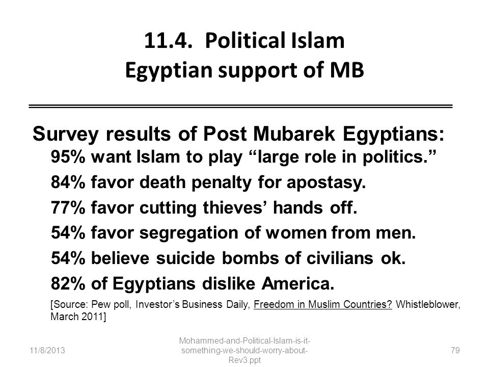 11.4. Political Islam Egyptian support of MB