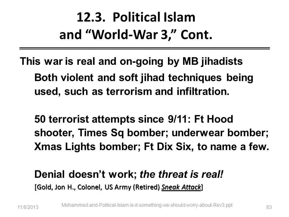 12.3. Political Islam and World-War 3, Cont.