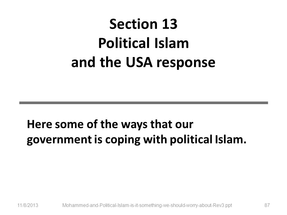 Section 13 Political Islam and the USA response