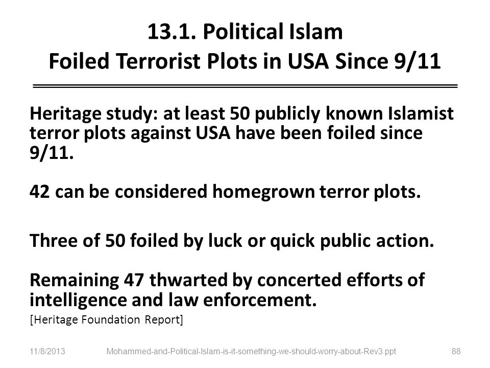 13.1. Political Islam Foiled Terrorist Plots in USA Since 9/11
