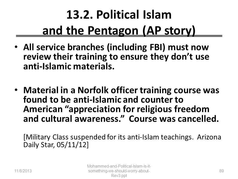 13.2. Political Islam and the Pentagon (AP story)