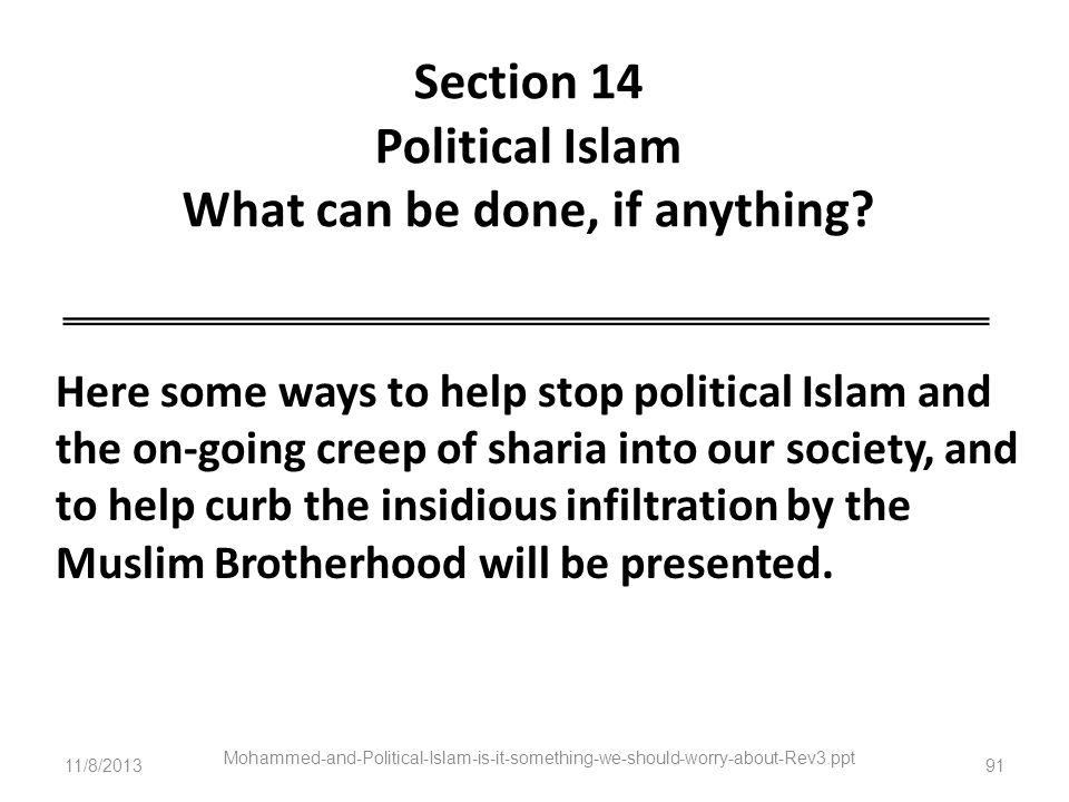 Section 14 Political Islam What can be done, if anything