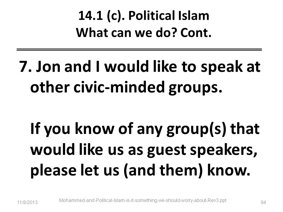 14.1 (c). Political Islam What can we do Cont.