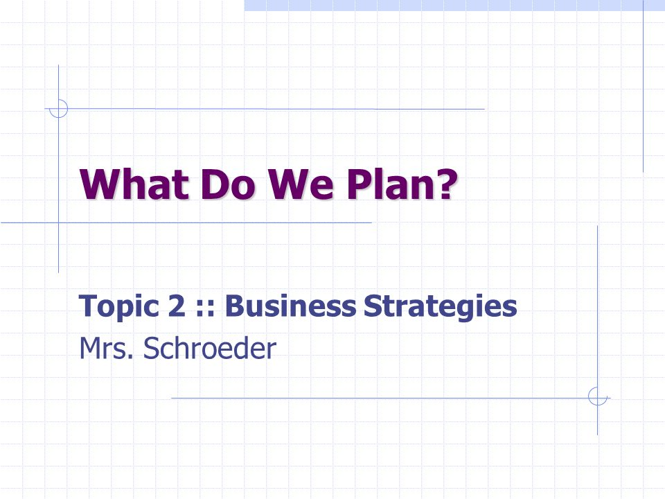 Topic 2 :: Business Strategies Mrs. Schroeder
