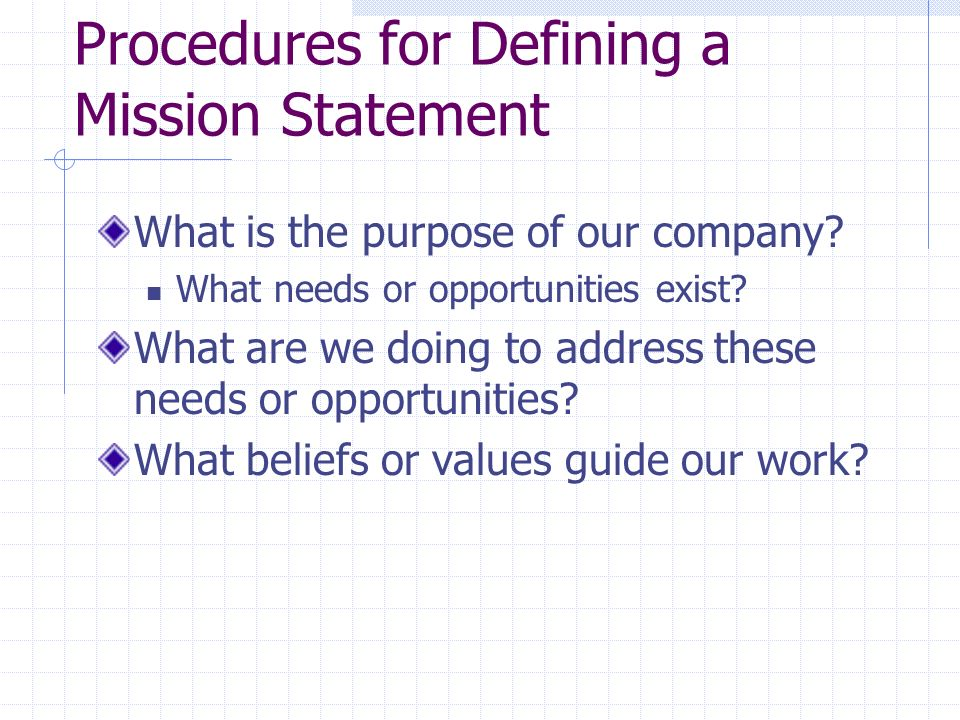 Procedures for Defining a Mission Statement