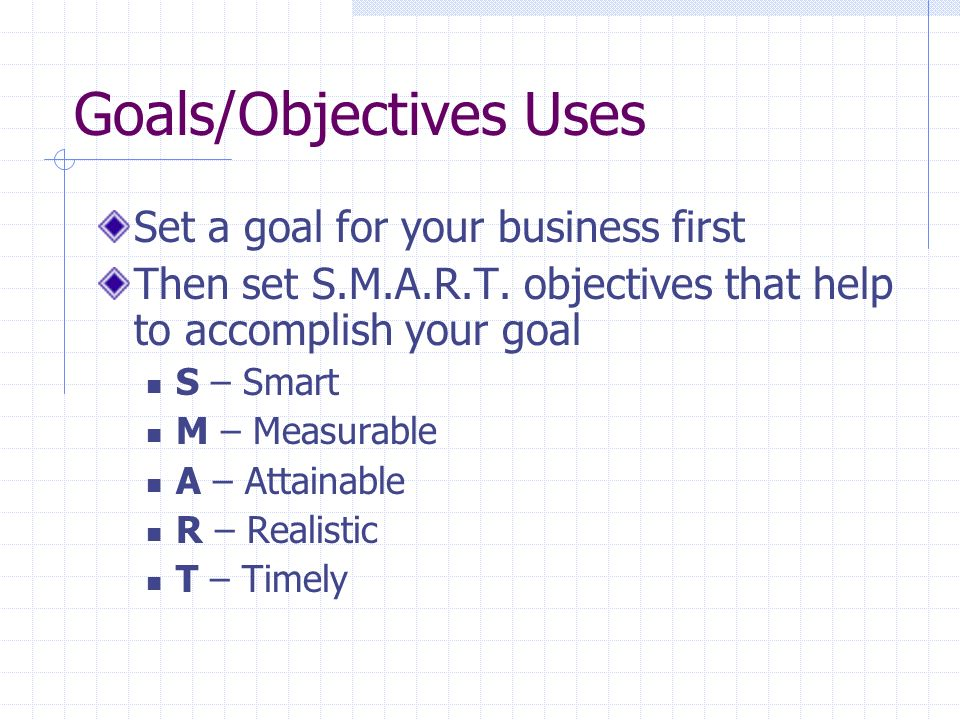 Goals/Objectives Uses