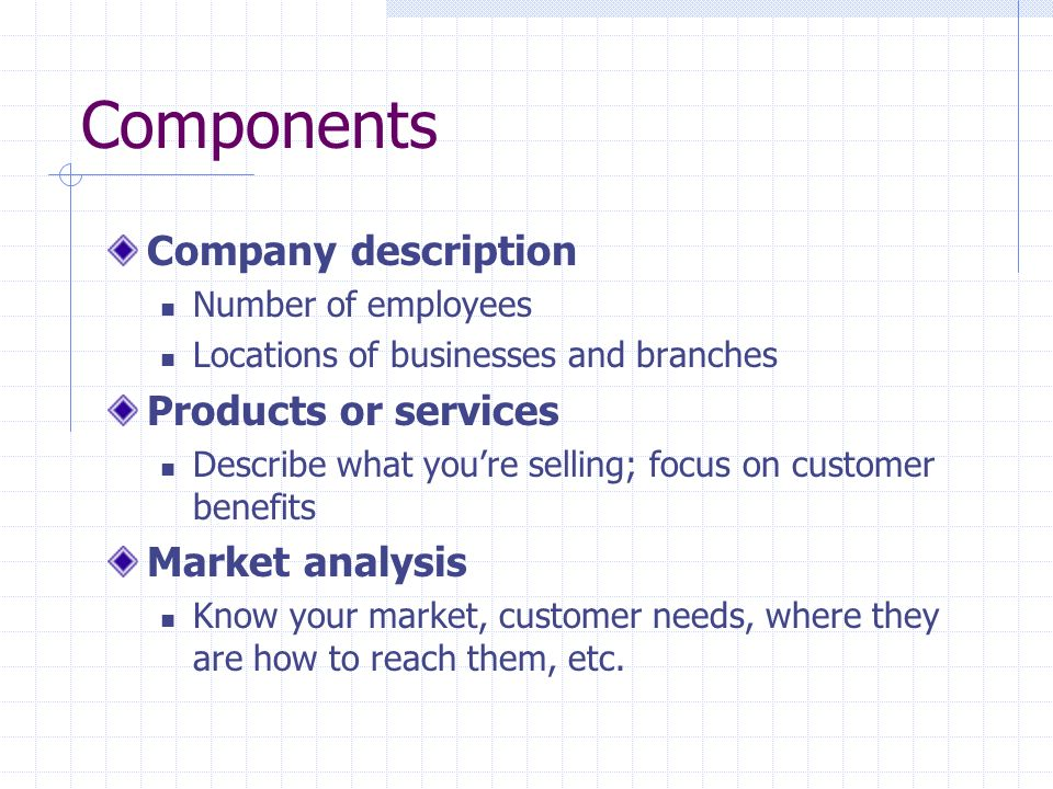 Components Company description Products or services Market analysis