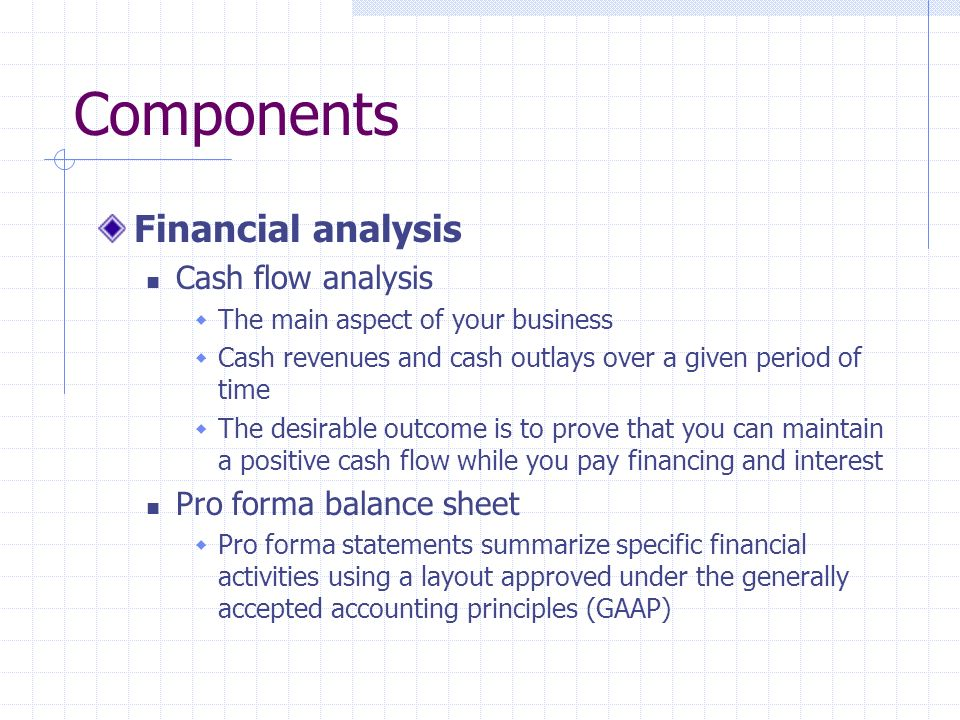 Components Financial analysis Cash flow analysis