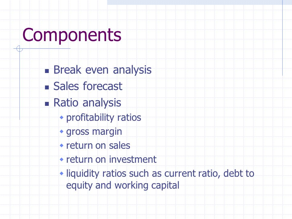 Components Break even analysis Sales forecast Ratio analysis