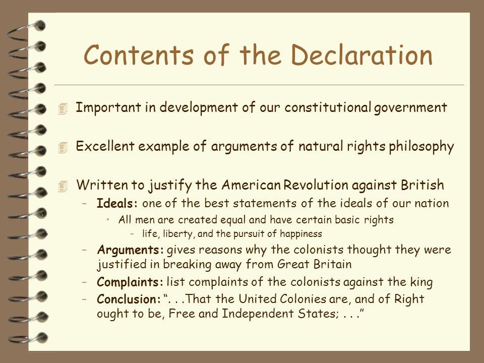 Contents of the Declaration