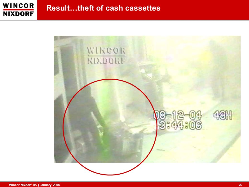 Result…theft of cash cassettes
