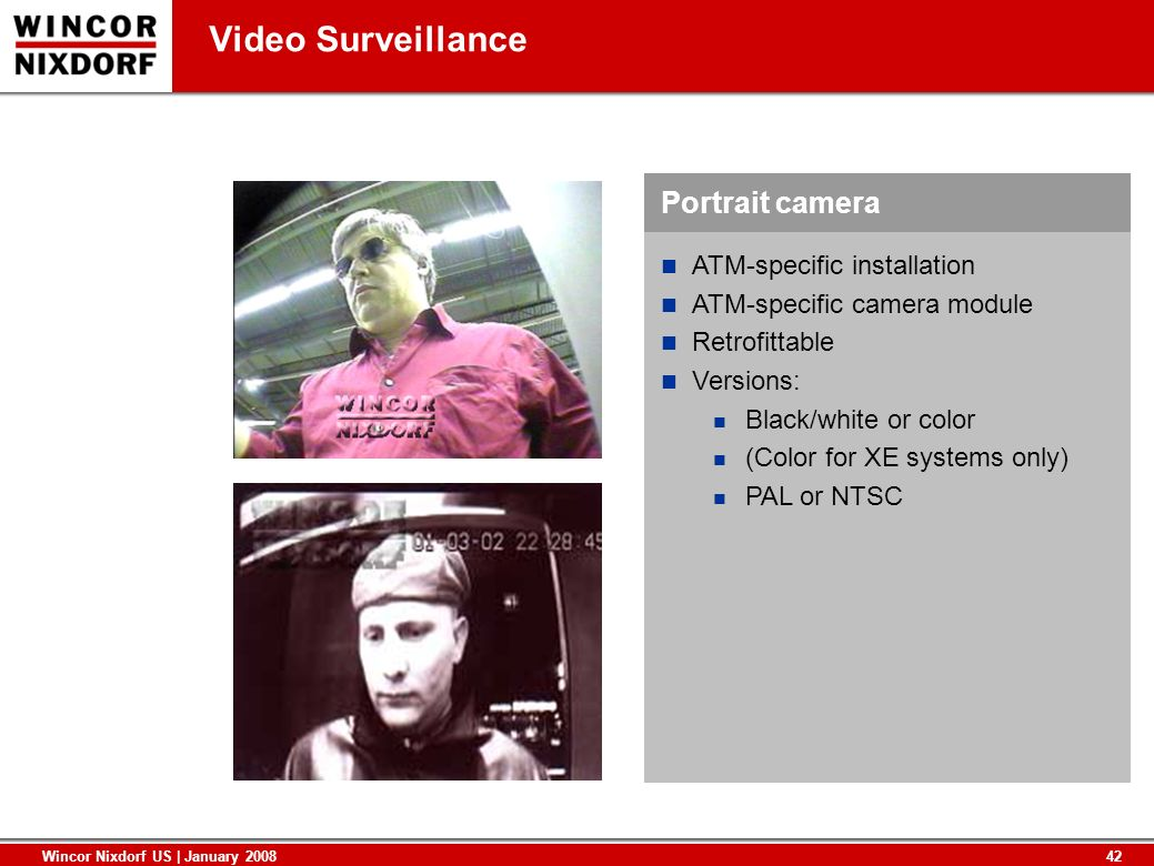 Video Surveillance Portrait camera ATM-specific installation