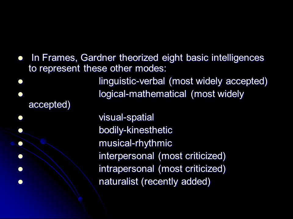 In Frames, Gardner theorized eight basic intelligences to represent these other modes: