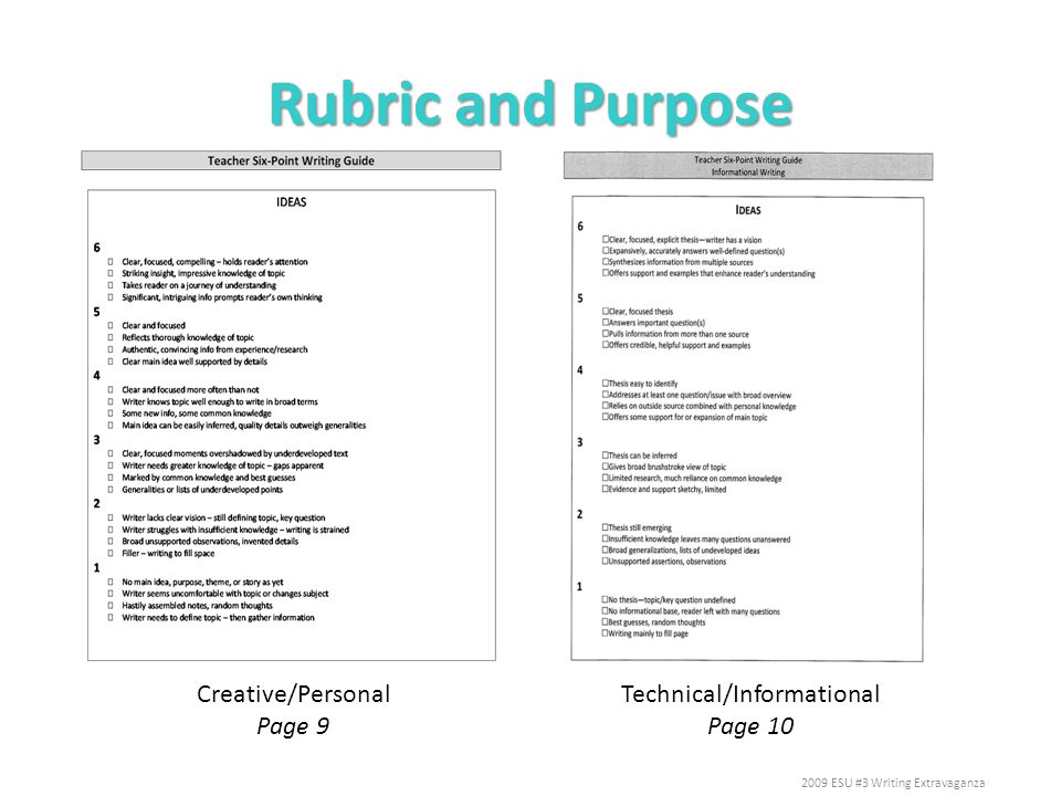 Rubric and Purpose Creative/Personal Page 9 Technical/Informational