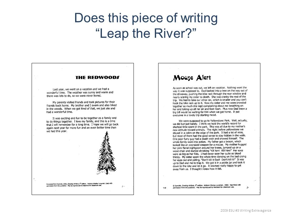 Does this piece of writing Leap the River