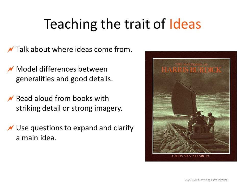Teaching the trait of Ideas